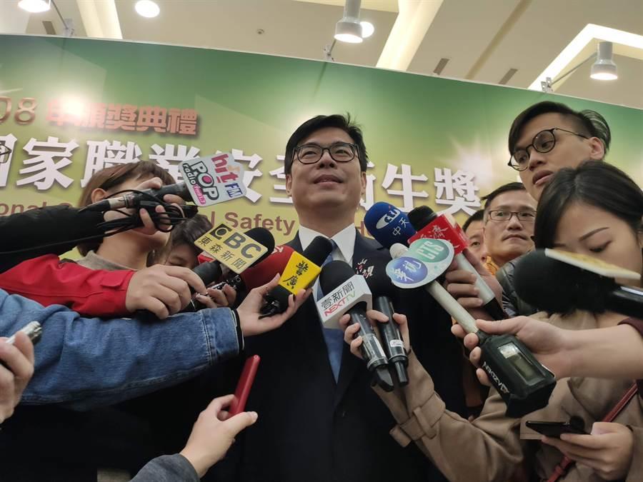 行政院副院長陳其邁今天參加「國家職業安全衛生獎」頒獎典禮。(林良齊攝)