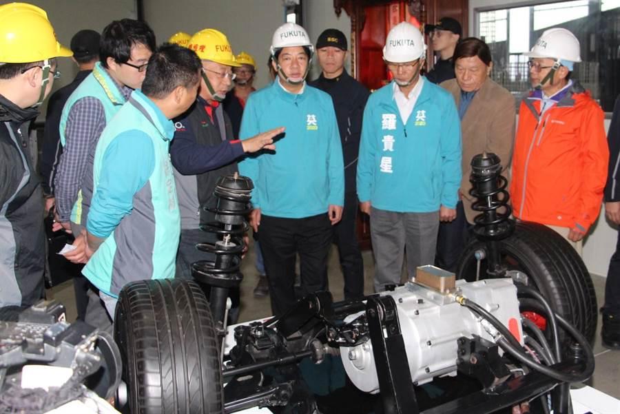 賴清德參訪富田電機苗栗銅鑼廠,與產業交流。(何冠嫻攝)