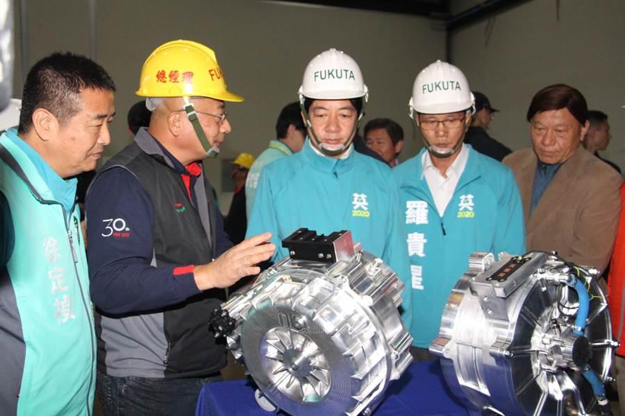 賴清德參訪富田電機苗栗銅鑼廠生產狀況。(何冠嫻攝)