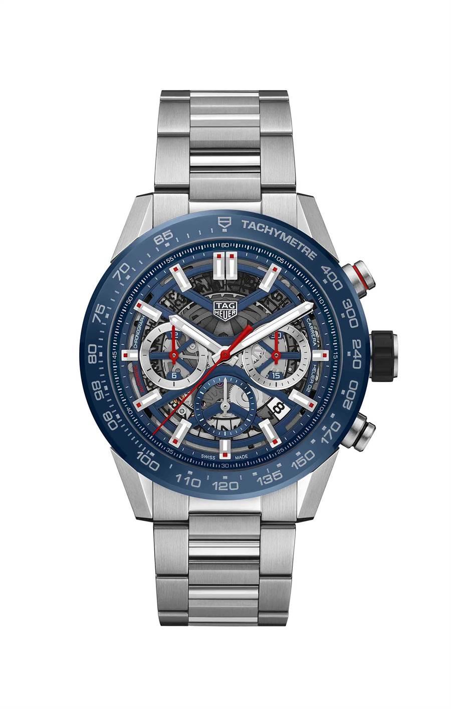 泰格豪雅Carrera Heuer 02精鋼計時腕表,藍色陶瓷表圈,18萬1700元。(TAG Heuer提供)