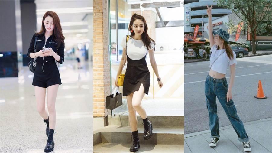 徐璐常穿戴價格平易近人的單品,如:Dr. Martens靴子或Converse帆布鞋。(圖/摘自微博@徐璐LULU)