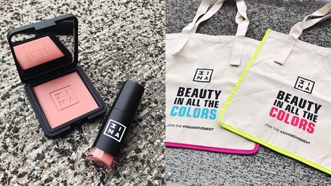 3INA玩色托特包、超印色染唇釉、炫染腮紅。(圖/邱映慈攝影)