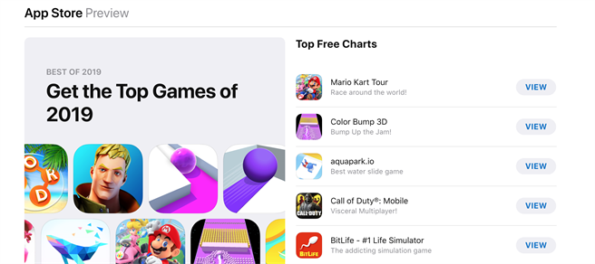 蘋果公佈2019應用程式與遊戲熱門下載榜。(摘自App Store)