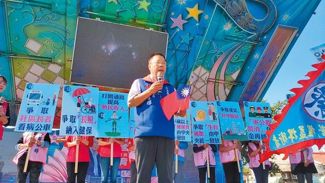 台南市立委第一選區共有7人登記參選,國民黨參選人蔡育輝力拚出線。(莊曜聰攝)
