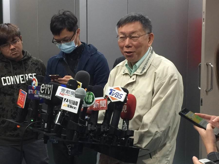 台北市長柯文哲3日接受媒體聯訪。(張立勳攝)