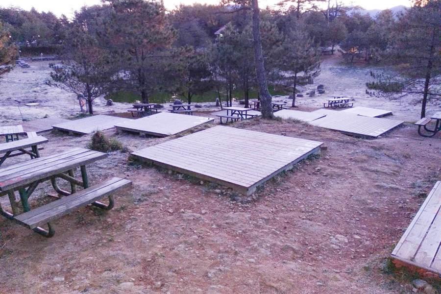 福壽山農場露營區近日早晨可見厚厚的白霜。(福壽山農場提供/陳淑娥台中傳真)