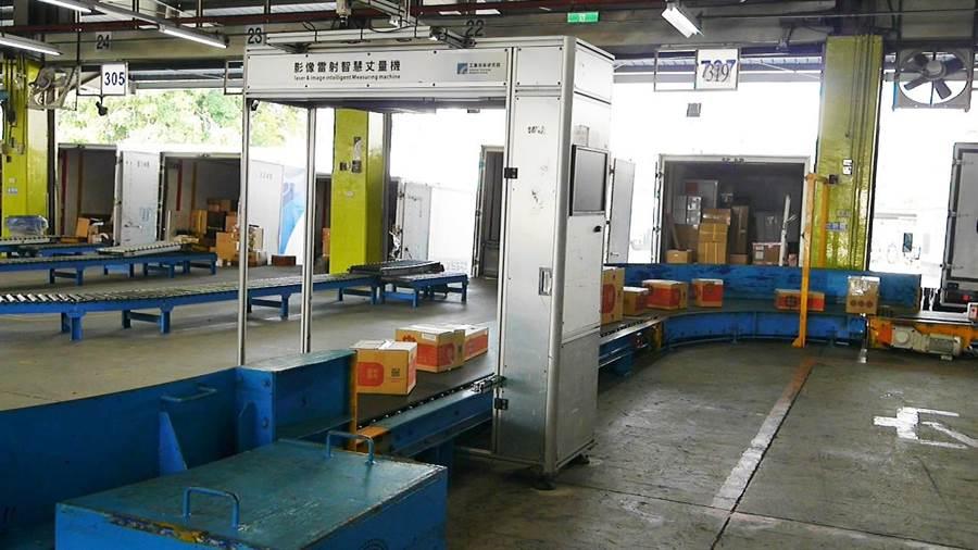 工研院打造「自動材重辨識系統」,只需將貨物置於高速運行輸送帶上,通過量測關口就能即時完成測量與計價。(工研院提供/羅浚濱新竹傳真)