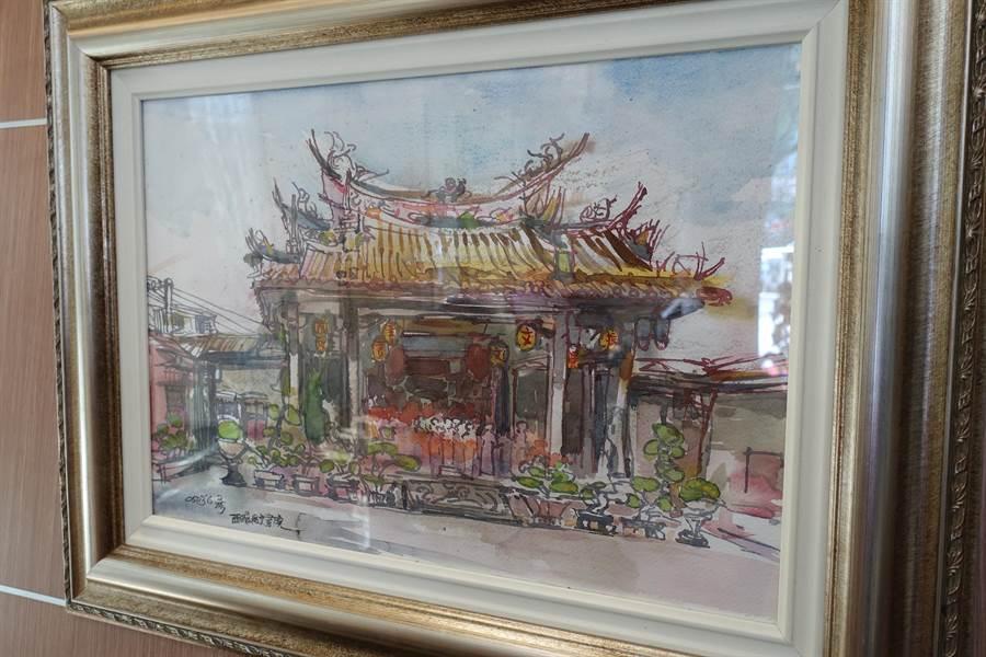 雲林藝術家廖信彥以竹筷為畫筆的作品。(許素惠攝)