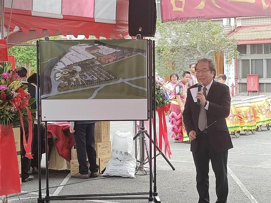 建築師郭亘榮說,目前規劃構想包含觀光酒廠、文創園區、公園綠地、商業基地和微型博物館。(張晉銘攝)