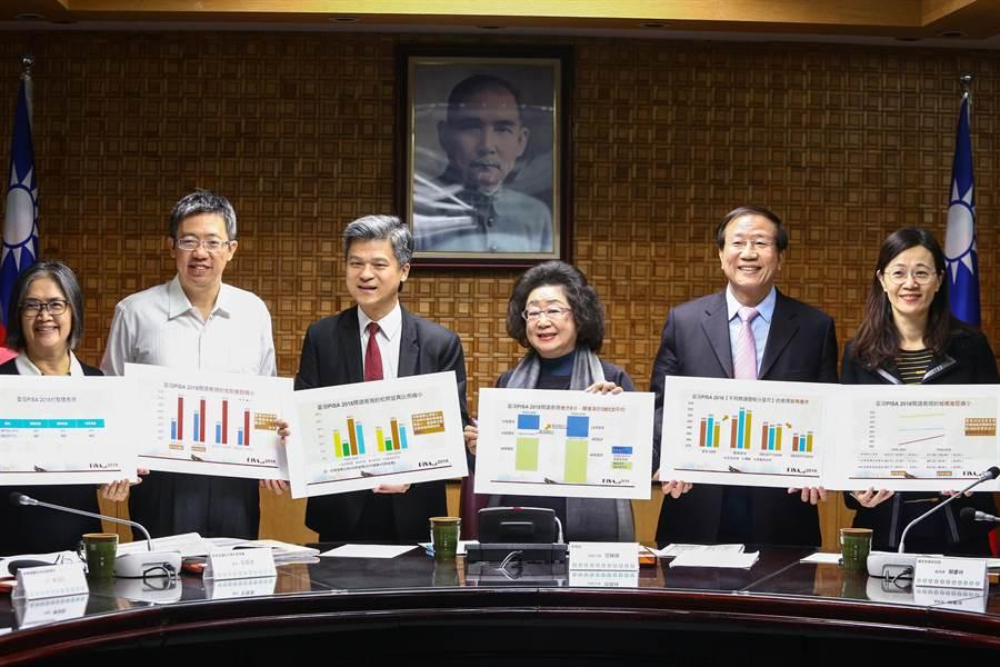 教育部次長范巽綠(右三)表示,在PISA 2018(國際學生能力評量計畫2018)中,台灣學生的閱讀表現排全球第17名,較2009年上升6名。(鄧博仁攝)