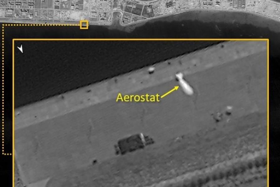 衛星照片發現,大陸在美濟礁部署飛艇。(圖/ImageSat International)