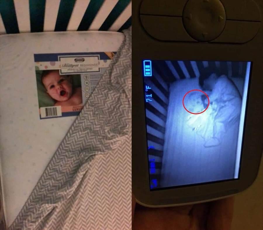 示妻子的朋友,在買完嬰兒墊子後一直認為有鬼,因為在兒童監視器中一直出現一張陌生且蒼白的嬰兒臉,後來才發現,原來是偷懶的爸爸沒把床單拉好,導致那張墊子下面的嬰兒標籤露出,而引發這場誤會。(圖/取自seanieflanagan推特)