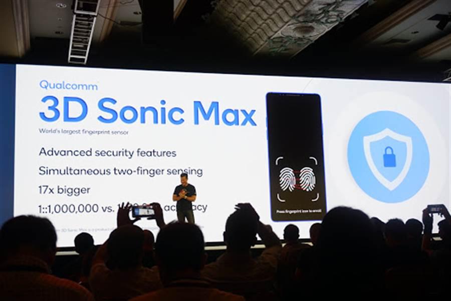 高通在 4 日的 Snapdragon 技術高峰會中發表 3D Sonic Max 超聲波指紋辨識技術。(摘自Twitter)