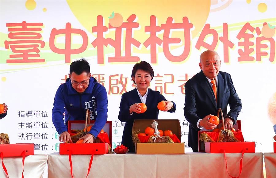 台中市長盧秀燕(中)盛讚台中水果是台灣水果王國裡「皇冠上的鑽石」!數量雖非全台最多,但絕對是高級精美的水果。(陳世宗攝)