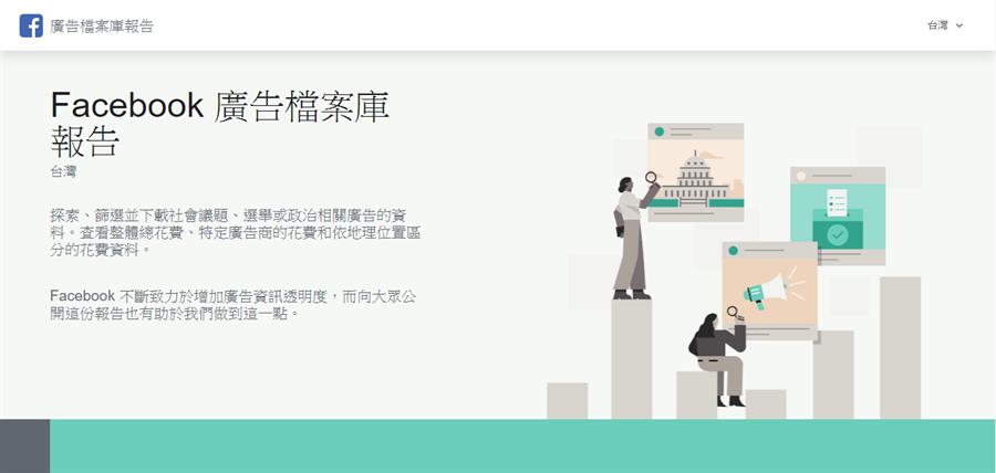 Facebook公開台灣的廣告檔案庫報告,揭露社會議題、選舉或政治相關廣告相關資料。(摘自Facebook)
