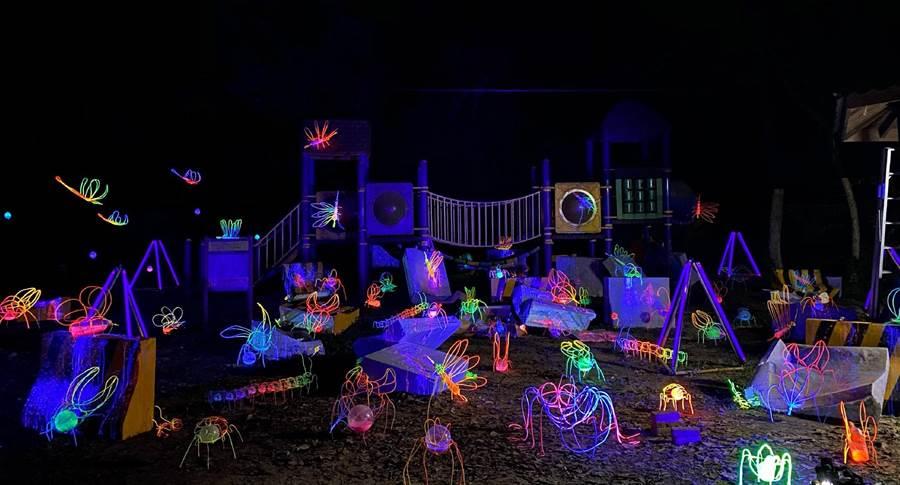 「2019龍崎光節-空山祭」為龍崎首次大型藝術活動,作品6號《烏雲來了》打造人造物與自然環境二元對立的衝突場面。(攝攝照片/曹婷婷台南傳真)