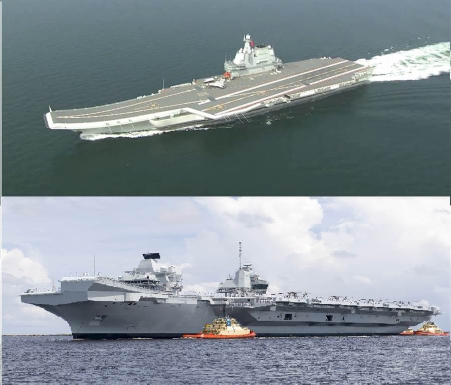 大陸002國產航母與英國女王級航母相比,艦載機出動率仍有1.5至2倍差距。(圖/合成圖)