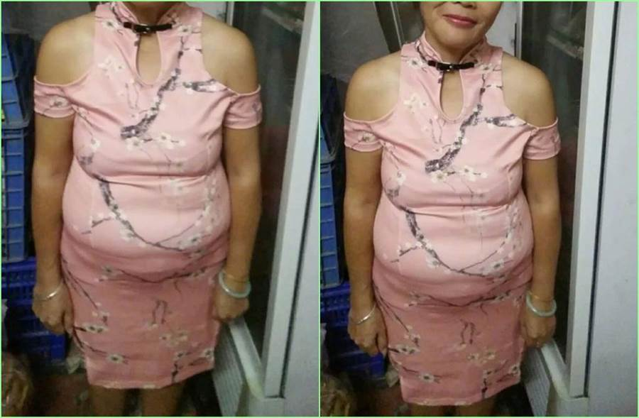 大媽穿上網購回來的旗袍,滿意到不行,盛讚「穿起來粉粉嫩嫩,很顯身材,前凸後翹。太性感了吧?」。(照片來源:《奇葩買家秀的日常》微博)