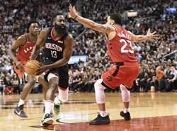 NBA》哈登沒飆分 火箭作客卻贏暴龍