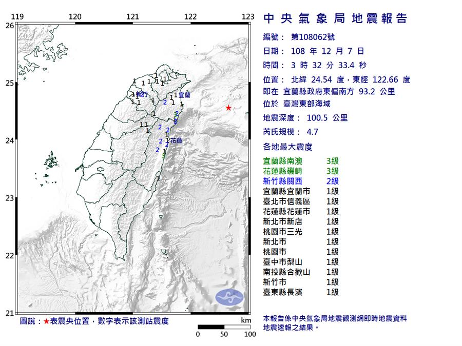 03:32東部海域4.7地震 宜花3級搖最兇(圖/氣象局)