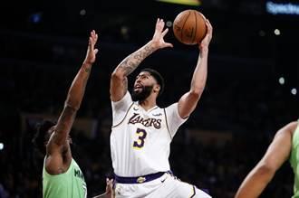 NBA》一眉哥狂砍50分 湖人獵殺灰狼摘21勝
