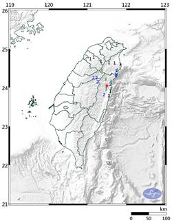 12:13花蓮秀林鄉規模4.0地震 最大震度4級