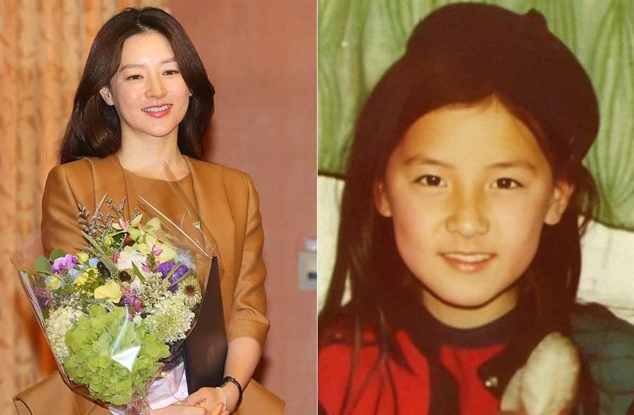 李英愛公開11歲童年照,讓人驚嘆她從小美到大,是「原裝美女」無誤。(左/達志影像、右/李英愛官方微博)