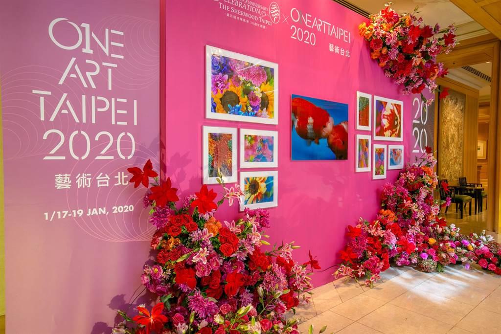 「ONE ART Taipei 藝術台北」快閃美術館的夢幻花牆。(台北西華飯店提供)