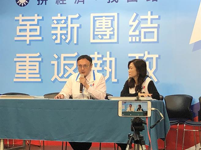 韓辦今天上午舉行記者會駁斥黃國昌的指控。(趙婉淳攝)
