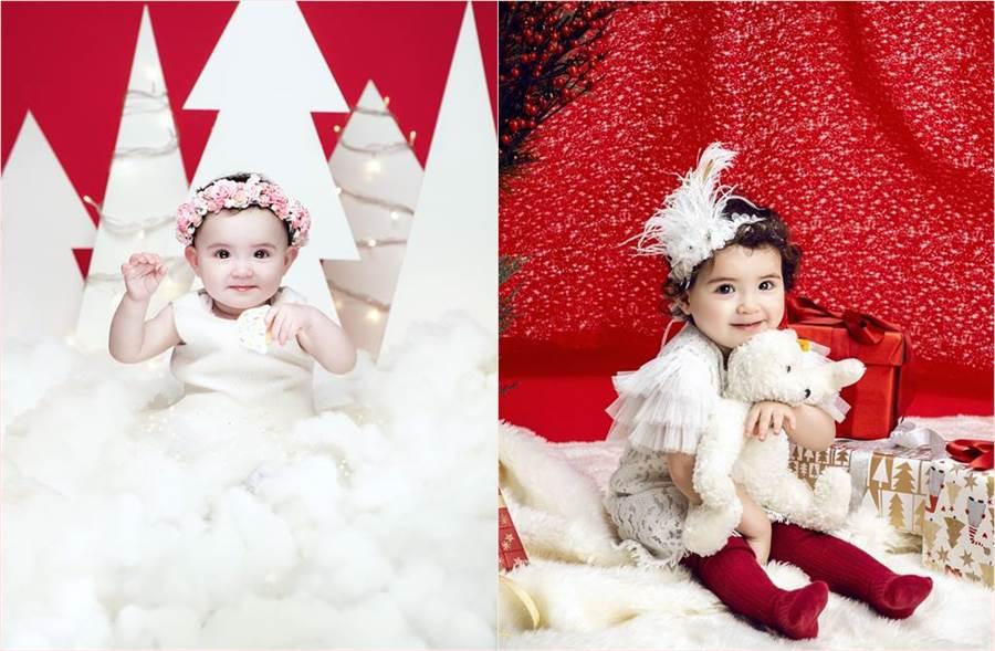 人氣混血萌娃童星伊萊的妹妹伊菲近期登上知名百貨公司的聖誕封面。(圖/微風提供)