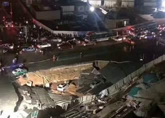 廈門地鐵呂厝站大片路面崩塌 多車跌落傷亡不明