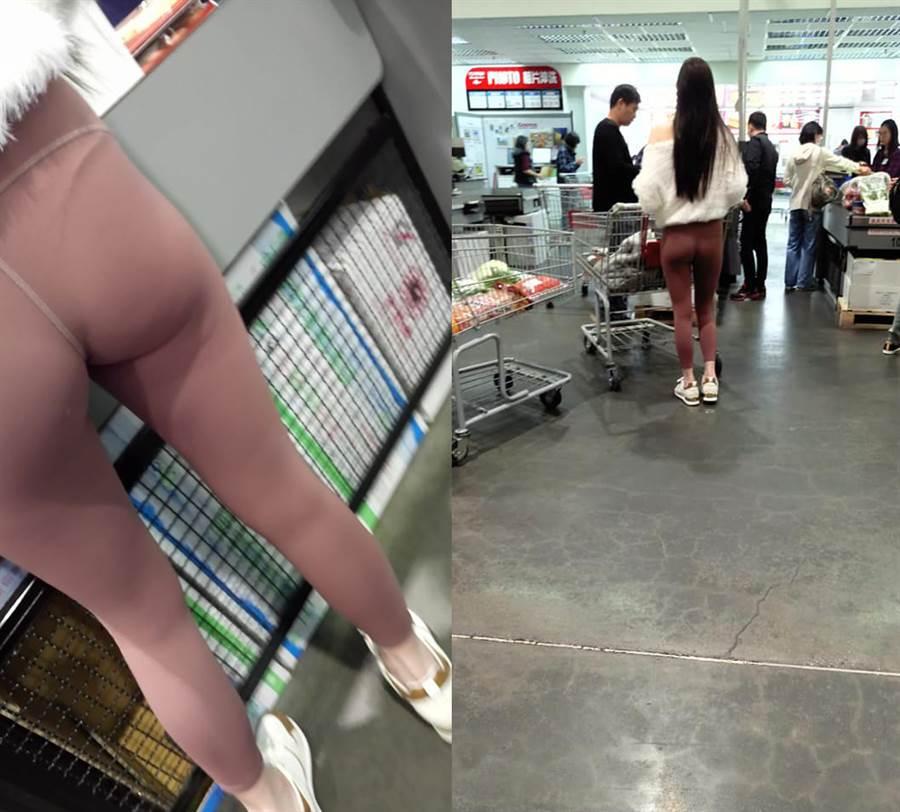 正妹美尻形狀一覽無遺,且縫線位置太過尷尬,還可隱約看見底下的性感丁字褲。(圖/摘自臉書《加藤軍路邊隨手拍》)