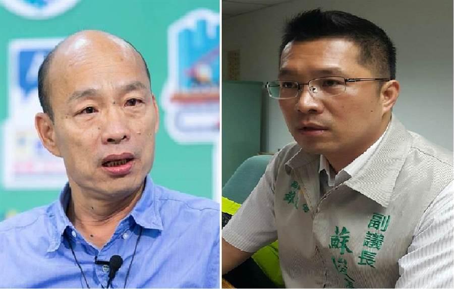 國民黨總統參選人韓國瑜(左)、前民進黨雲林縣副議長蘇俊豪(右)。(圖/合成圖,本報資料照)