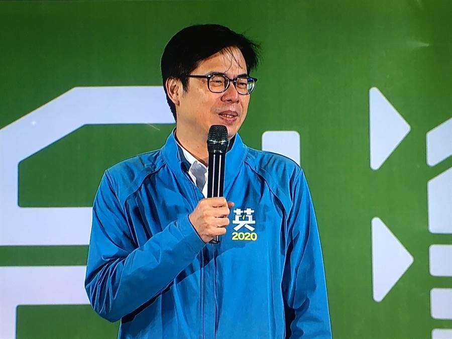 行政院副院長陳其邁力推立委候選人陳明文。(張亦惠攝)