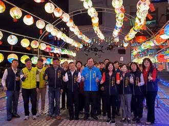 中式燈籠+西式聖誕樹 西屯區公所點亮燈海隧道
