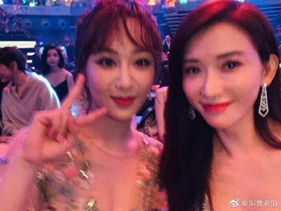 林志玲和楊紫合照,兩人顏值被網友拿來比較。(圖/微博)