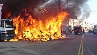 線西工廠烈焰沖天火舌沿著電線飛 兩人被火光閃到灼傷