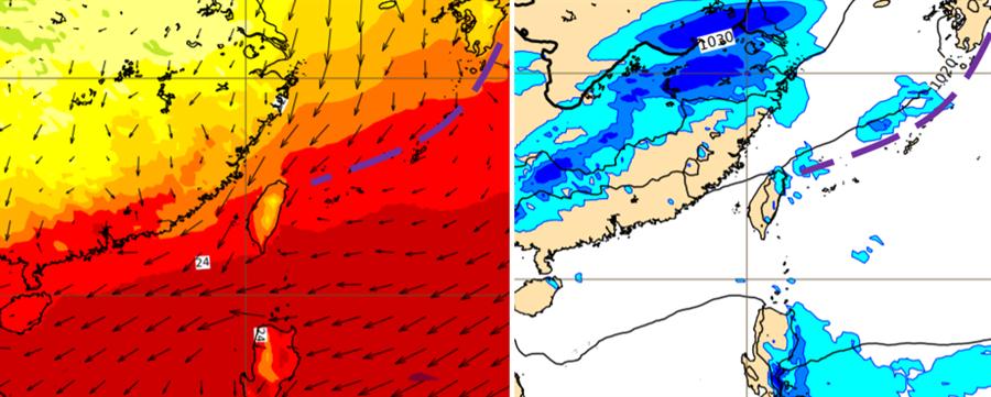 圖:歐洲中期預報中心(ECMWF)模式,模擬周三 (18日)20時近地層風場圖(左圖)顯示,鋒面尾端在台灣東北部海面,東北風逐漸南下。同時的地面氣壓場及雨量模擬圖(右圖)顯示,迎風面開始有降雨發生。(翻攝自 三立準氣象·老大洩天機)