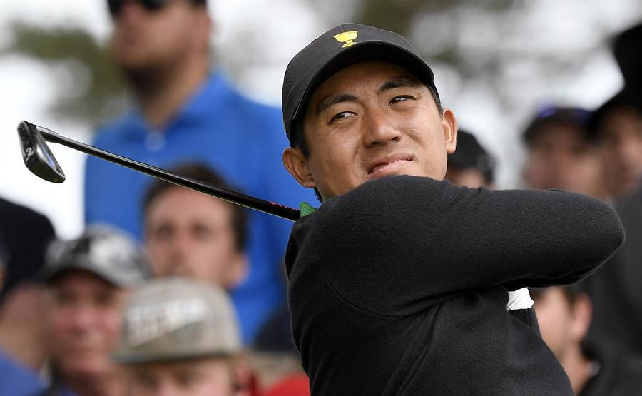 台灣高爾夫好手潘政琮首度參加總統盃高球賽,就頻頻為國際隊建功。(美聯社)