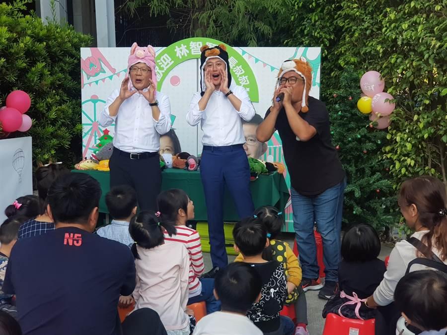 新竹市長林志堅15日特地來到台中,為一樣有著孩子王稱號的立委張廖萬堅站台。(立委張廖萬堅競總提供/陳世宗台中傳真)