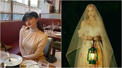 20歲女偶像公開「前後深V婚紗」大露美胸、蝴蝶背