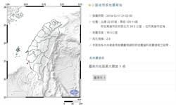 21:02高雄2.8地震 最大震度台南1級