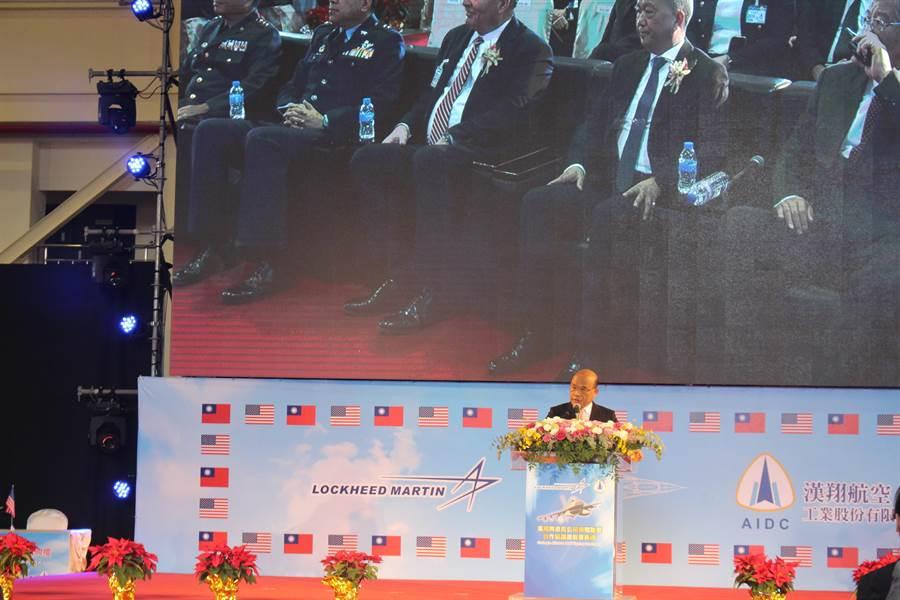 行政院長蘇貞昌強調,國防需要空防,空防需要戰機,戰機需要維修。(陳淑娥攝)