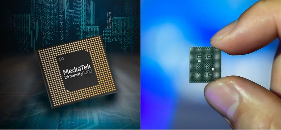 聯發科天璣 1000 5G 晶片與高通 Snapdragon 865(右)晶片。(摘自聯發科官網、高通提供)
