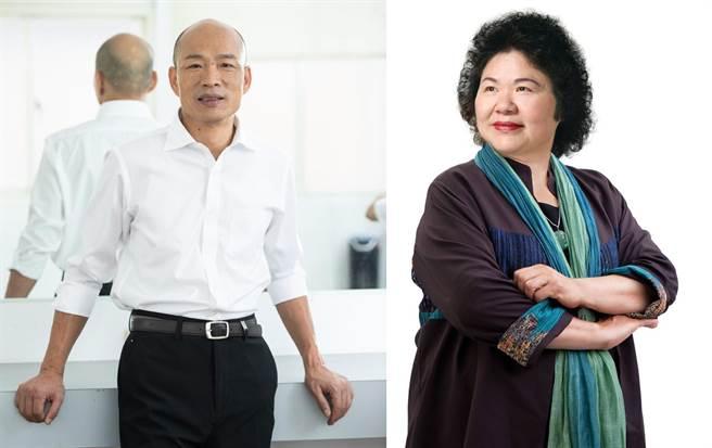 高雄市長韓國瑜(左)、前市長陳菊。(合成圖/翻攝臉書)