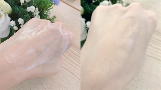 自然美超效保濕按摩卸妝膏接觸到水後乳化速度非常快,沖洗掉後完全沒有油膩感,還會帶有療癒的精油香氣。(圖/邱映慈攝影)