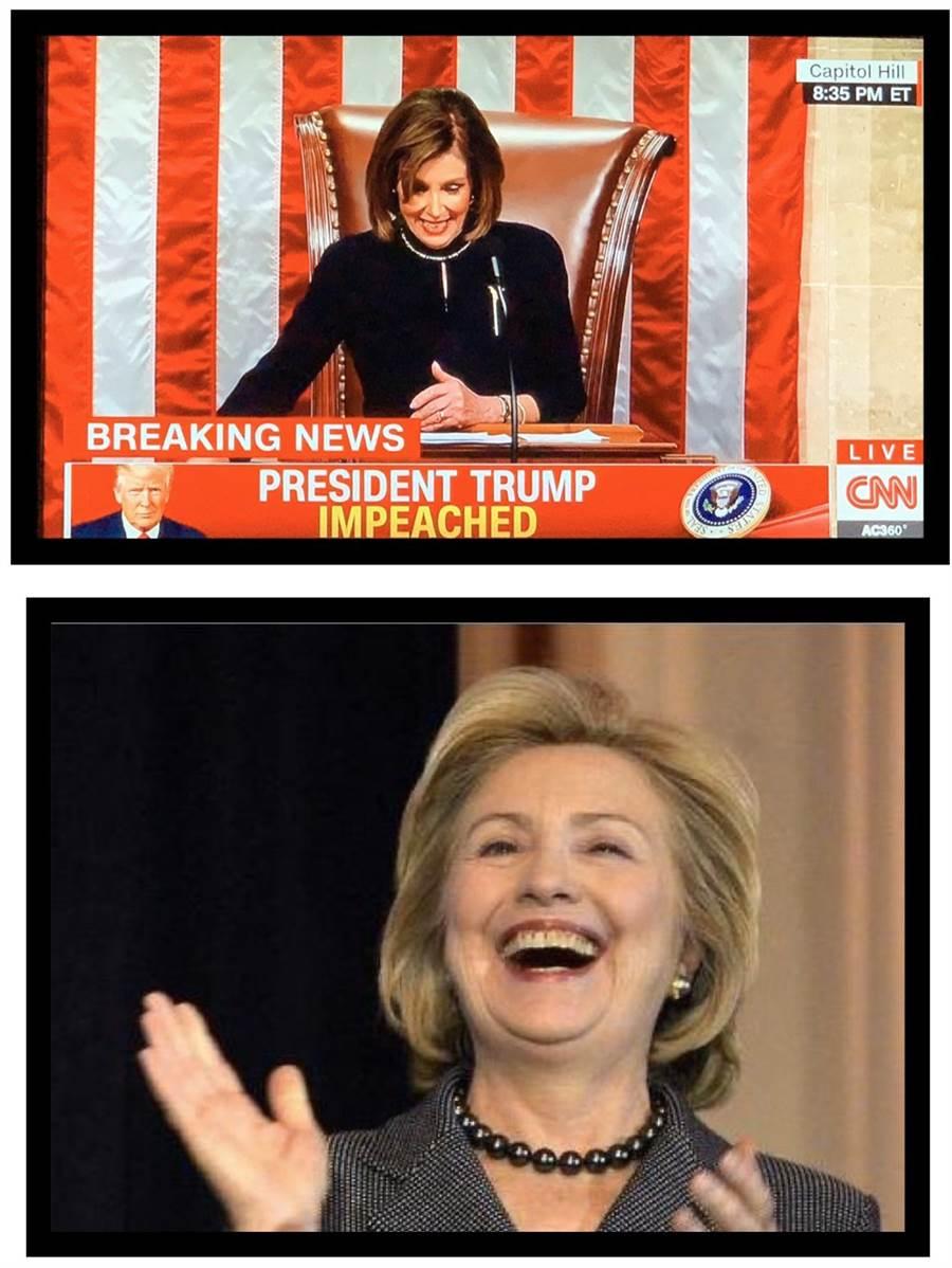 網友在川普指責民主黨與裴洛西的推文下方留言區,貼上希拉蕊拍手大笑的圖片,嘲諷意味破表。(取自twitter.com/realDonaldTrump)