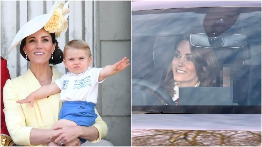 凱特王妃坐車裡也時尚!同框小王子呆萌表情成焦點(圖/達志影像)