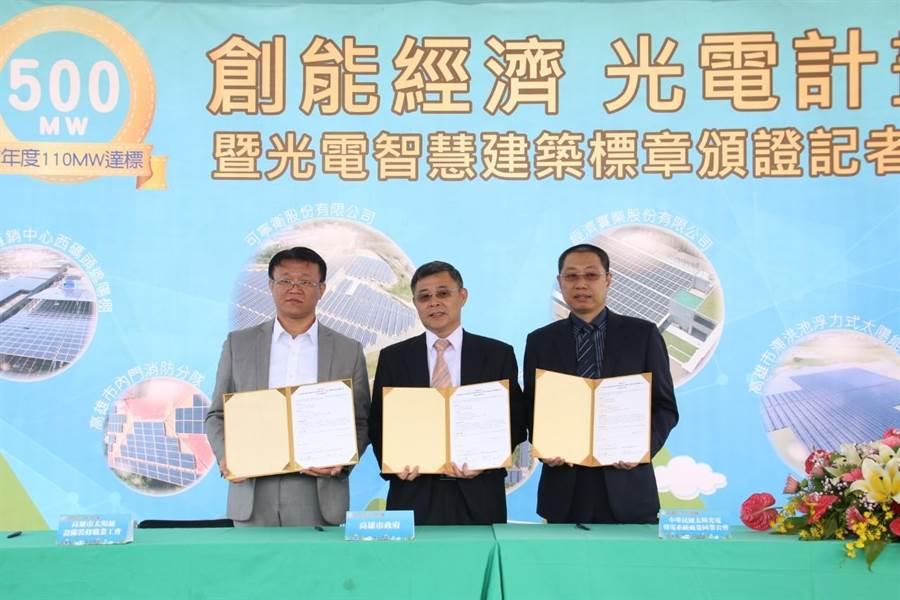高市府工務局與兩太陽能公會簽訂合作協議,宣示推動能源多樣化政策的用心與決心。(高市府工務局提供/袁庭堯高雄傳真)