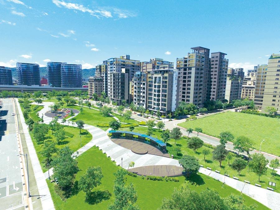 1.2萬坪明美公園為內湖五期重劃區內最大面積綠地,公園西側純住開發區營造美式街廓環境,近年區內成屋交易低調熱賣。圖/業者提供